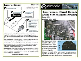 Airscale 1/24 P51D Mustang Instrument Panel (Decal)