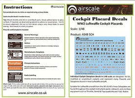 Airscale 1/48 WWII Luftwaffe Cockpit Placards & Dataplates (Decal)