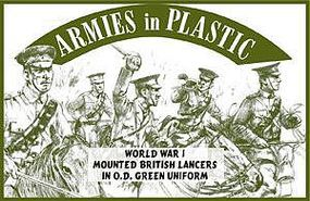 ArmiesInPlastic WWI British Lancers (Green) (5 Mtd) Plastic Model Military Figure 1/32 Scale #5540