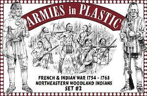 Armies In Plastic 1754-63 Northeastern Woodland Indians Set #2 -- Plastic Model Military Figure -- 1/32 Scale -- #5548