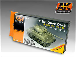 AK US Olive Drab Modulation Acrylic Hobby and Model Paint Set #131