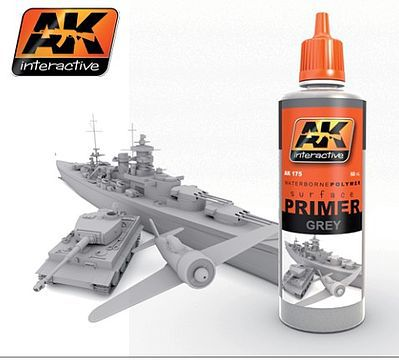 AK Interactive Grey Acrylic Primer 60ml Bottle -- Hobby and Model Acrylic Paint -- #175