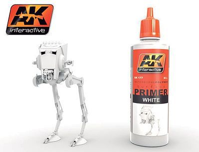 AK Interactive White Acrylic Primer 60ml Bottle -- Hobby and Model Acrylic Paint -- #177