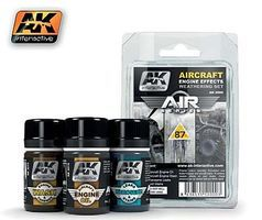 AK Air Series Aircraft Engine Effects Weathering Set Hobby and Model Paint Set #2000