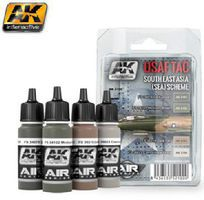 AK USAF TAC Southeast Asia (SEA) Scheme Acrylic Paint Set (4 Colors) Hobby and Model Paint #2100