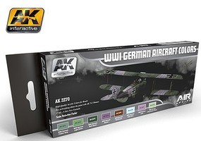 AK WWI German Aircraft Colors Acrylic Paint Set (8) Hobby and Model Paint Supply #2270