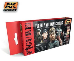 AK Flesh & Skin Colors Acrylic Hobby and Model Paint Set #3010