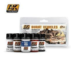 AK Burnt Vehicles Weathering Pigment Set (39, 48, 142, 143, 144) Hobby and Model Paint Set #4120