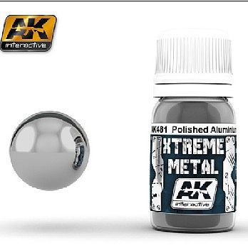 AK Interactive Xtreme Metal Polished Aluminum Metallic -- Hobby and Model Acrylic Paint -- #481