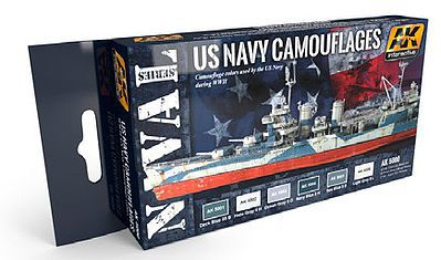 AK Interactive US Navy Camouflages Acrylic Paint -- Hobby and Model Paint Set -- #5000