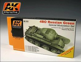AK Russian 4BO Green Modulation Acrylic Paint Hobby and Model Paint Set #553