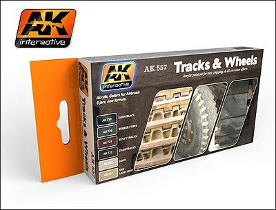 AK Interactive Track & Wheels Acrylic Paint -- Hobby and Model Paint Set -- #557