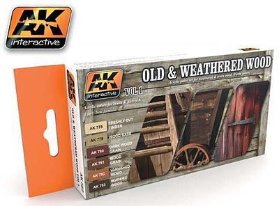 AK Interactive Old & Weathered Wood Vol.1 Acrylic Paint -- Hobby and Model Paint Set -- #562