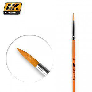 AK Interactive Size 6 Synthetic Round Brush -- Hobby and Model Paint Brush -- #606