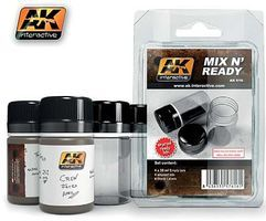 AK Mix N Ready 35ml Empty Jars w/Labels (4) Hobby and Model Paint Supply #616