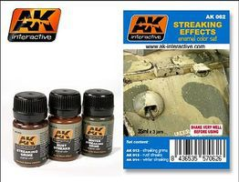 AK Streaking Effects Enamel Paint (12, 13, 14) Hobby and Model Paint Set #62