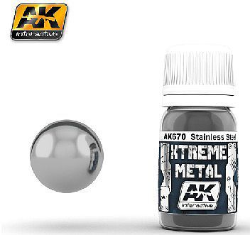 AK Interactive Xtreme Metal Stainless Steel Metallic Paint 30ml Bottle -- Hobby and Model Enamel Paint -- #670