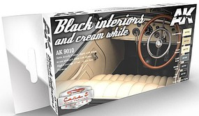 AK Cars & Civil Vehicles Series- Black & Cream White Interiors Acrylic Paint Set (6 Colors) 17ml Bottles