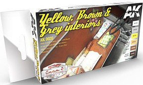 AK Cars & Civil Vehicles Series- Yellow, Brown & Grey Interiors Acrylic Paint Set (6 Colors) 17ml Bottles