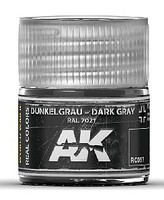 AK Real Colors- Dark Grey RAL7021 Acrylic Lacquer Paint 10ml Bottle