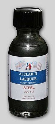 Alclad II 1oz. Bottle Steel Lacquer -- Hobby and Model Lacquer Paint -- #112