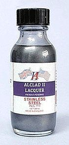 Alclad II 1oz. Bottle Stainless Steel Lacquer -- Hobby and Model Lacquer Paint -- #115