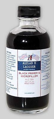 Alclad II 4oz. Bottle Black Primer & Microfiller -- Hobby and Model Enamel Paint -- #309