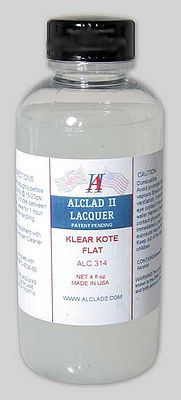 Alclad II 4oz. Bottle Clear Coat Flat -- Hobby and Model Enamel Paint -- #314