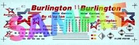 A-Line Decals - For 53 Plate Trailers - Burlington (blue, red) HO Scale Model Railroad Decal #50166