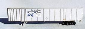 A-Line 53 Plate Trailer - Painted White w/Silver Ribs HO Scale Model Railroad Vehicle #50503