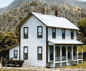 American Model Builders 2-Story Farm House Kit -- HO Scale Model Railroad Building -- #140