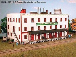 American-Models A.C. Brown Manufacturing Co. 3-Story Factory Kit N Scale Model Railroad Building #615