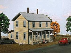 American Model Builders Two-Story Farmhouse w/Porch Kit -- N Scale Model Railroad House -- #640