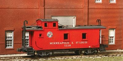 American Model Builders Wood Caboose - Kit Minneapolis & St Louis #1100 Series -- HO Scale Model Train Freight Car -- #882