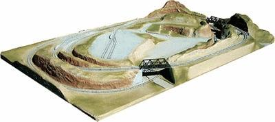 American Plastics Smoky Hollow Junction Layout Painted - 48 x 30'' -- N Scale Model Railroad Scenery -- #1055