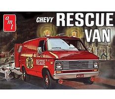AMT 1975 Chevy Rescue Van (Red) Plastic Model Car Truck Vehicle Kit 1/25 Scale #851