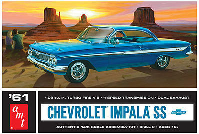 1961 Chevy Impala Ss Plastic Model Car Kit 1 25 Scale 1013 12 By