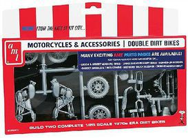 AMT Double Dirt Bike Motorcycle Parts Pack Plastic Model Vehicle Accessory 1/25 Scale #pp14