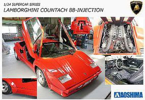 Aoshima Lamborghini Countach 5000QV 88 Sports Car Plastic Model Car Kit 1/24 Scale #11553