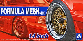 Aoshima 1/24 Formula Mesh (4H) 14 Tire & Wheel Set (4)