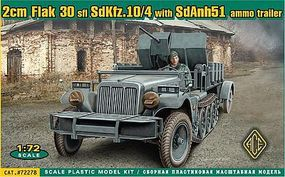 Ace SdKfz 10/4 Halftrack Plastic Model Halftrack Kit 1/72 Scale #72278