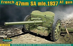 Ace French 47mm SA Mod 1937 Anti-Tank Gun Plastic Model Military Vehicle Kit 1/72 #72529