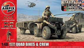 Airfix British Quad Bikes & Crew (New Tool) Plastic Model Military Vehicle Kit 1/48 Scale #4701