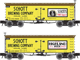 Atlas 36 Wood Reefer Schott Brewing Company GARE HO Scale Model Train Freight Car #20002711
