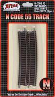 Atlas Code 55 20 Radius Half Curve Track (6) N Scale Nickel Silver Model Train Track #2027