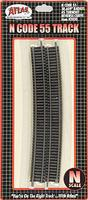 Atlas Code 55 Track 30.6 Radius Curve pkg(6) N Scale Nickel Silver Model Train Track #2030