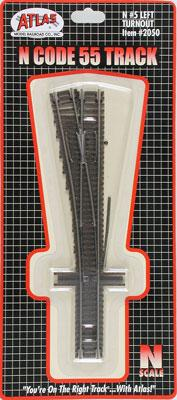 Atlas Code 55 #5 Left Turnout -- N Scale Nickel Silver Model Train Track -- #2050
