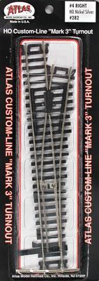 Atlas Code 100 #4 Turnout RH N/S Mk4 -- HO Scale Nickel Silver Model Train Track -- #282
