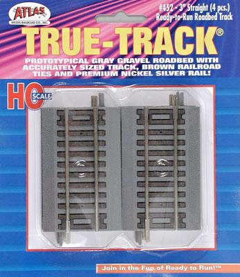 Atlas 3 Straight True-Track (4) -- HO Scale Nickel Silver Model Train Track -- #452