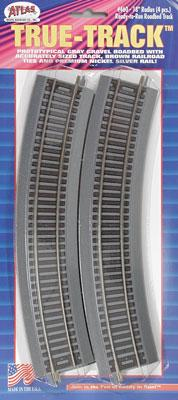 Atlas 18 Curved True-Track (4) -- HO Scale Nickel Silver Model Train Track -- #460
